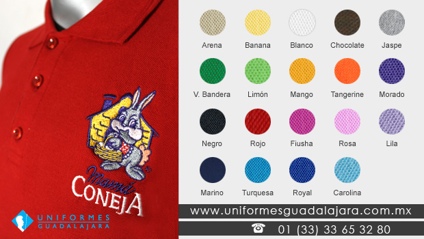 Playeras Polo con logotipo bordado Uniformes Guadalajara
